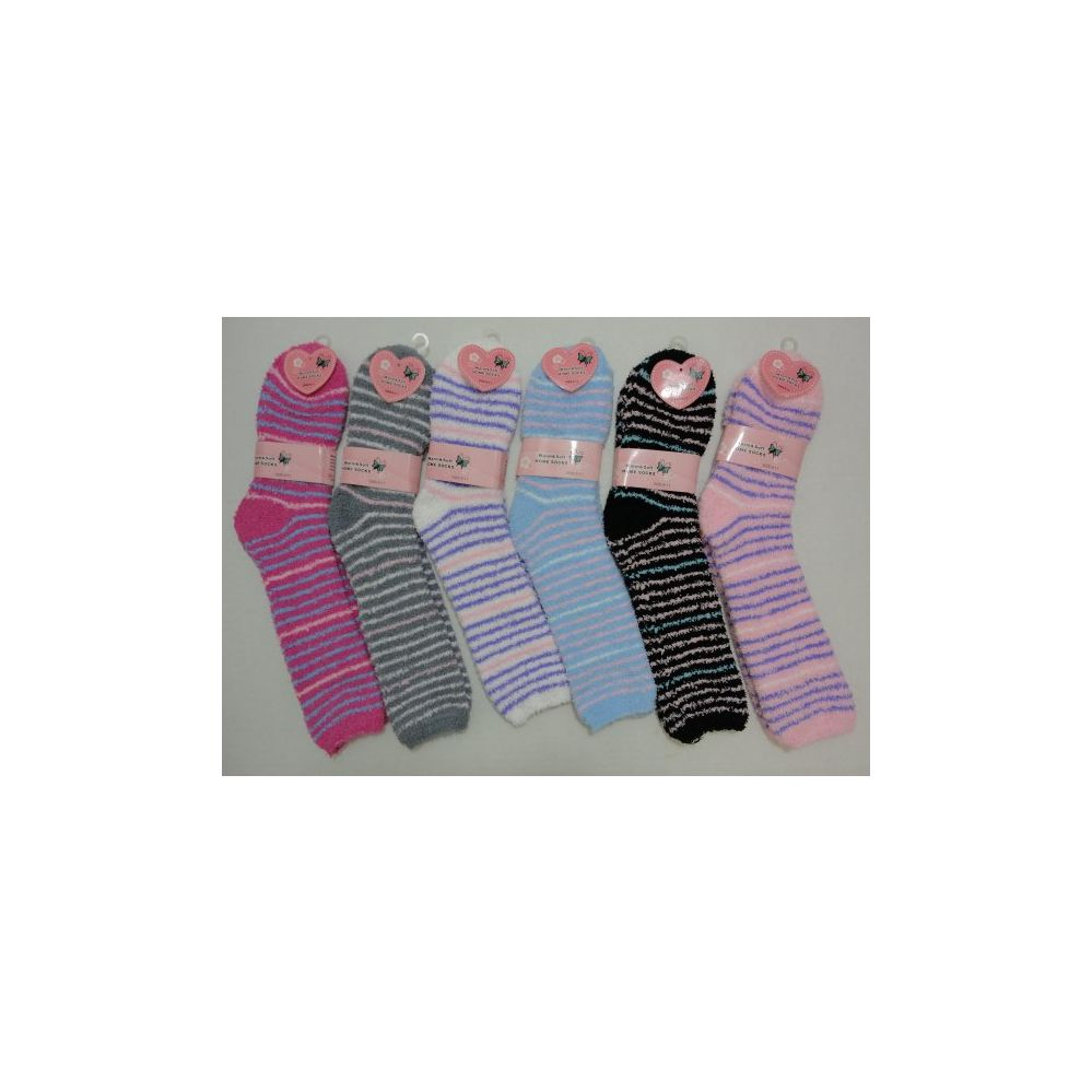 72 Units of Fuzzy Crew Socks 9-11 [Thin Stripes]
