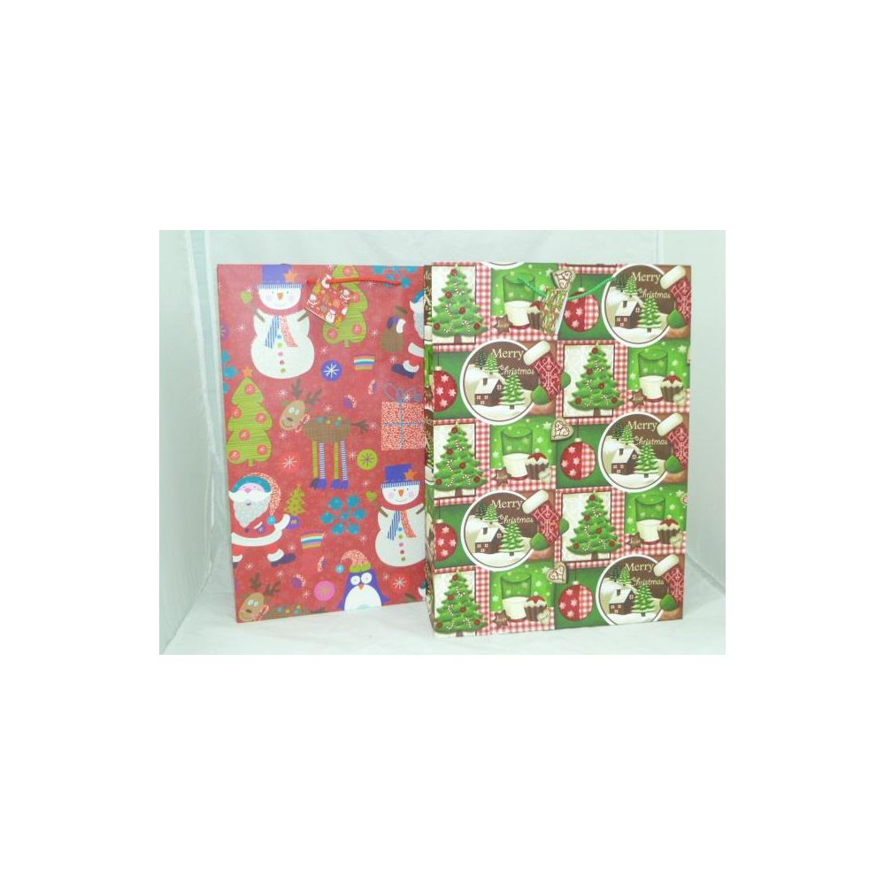 144 units of xmas glitter bags extra large asst 18x13x6 christmas gift bags and boxes