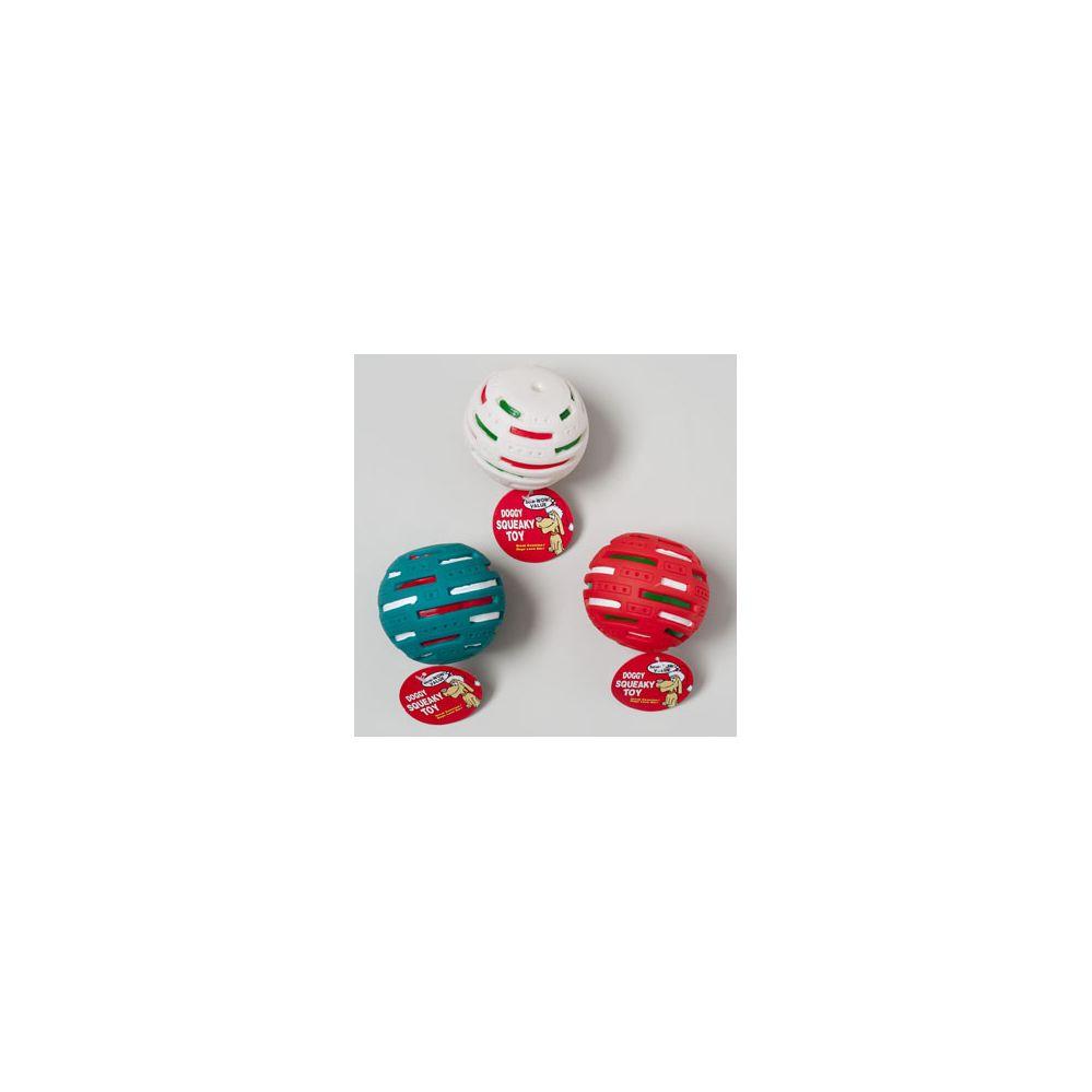36 Units of Christmas Dog Toy Vinyl Solar Ball W/squeaker - Christmas