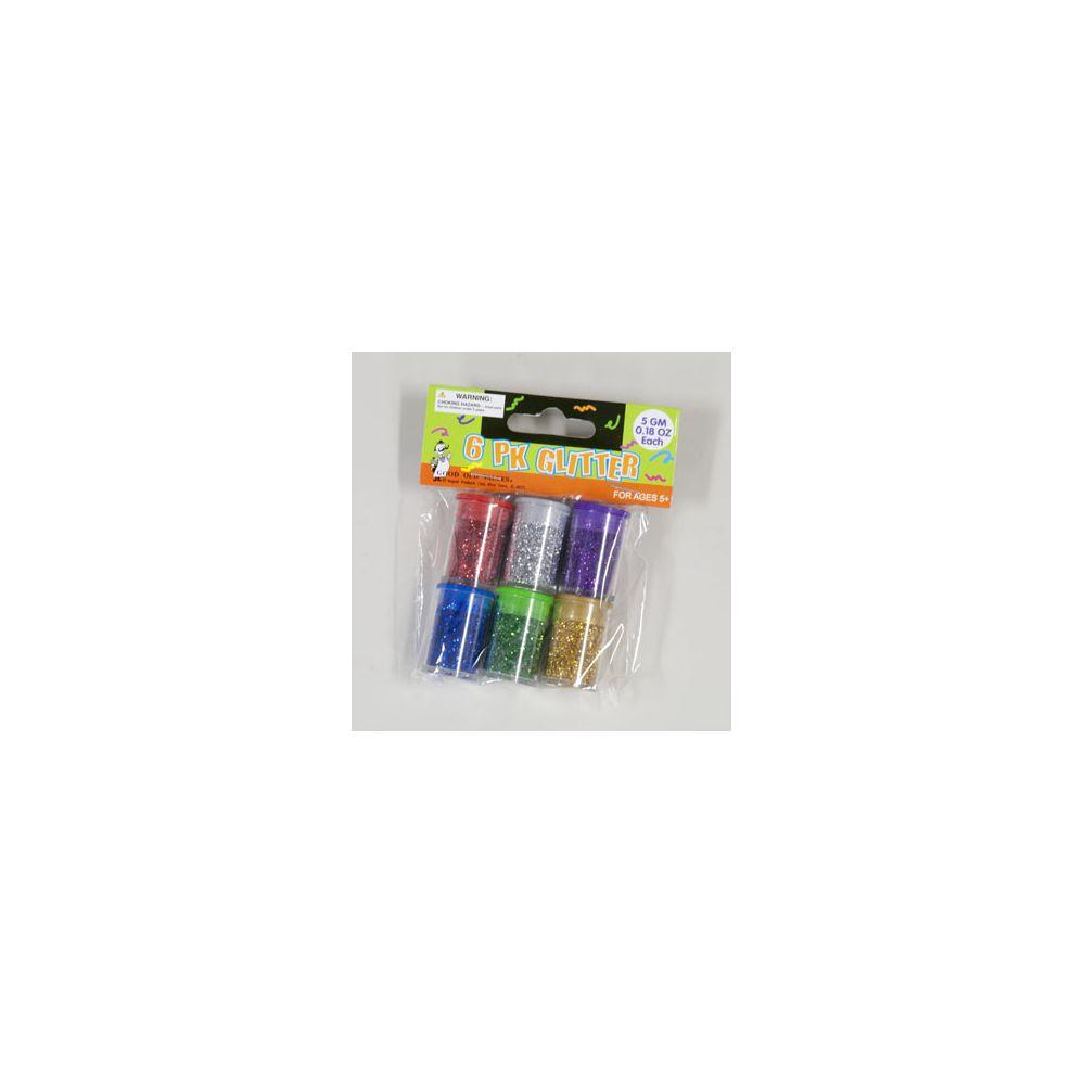 96 Units of Glitter 6pk Asst Colors In Jars