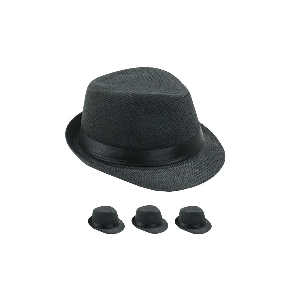 24 Units of Kids Black Fedora Hat With Black Band - Fedoras 3ea1376ba9d