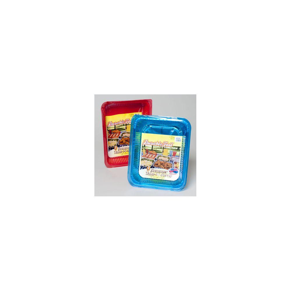 120 Units of Aluminum Roasters/baking Pans Red/blue 60 Ct In Floor Display - Aluminum Pans