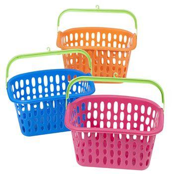 36 Units of Basket W/plastic Handle & Hook 3 Colors 10x7x5.5 In Pdq - Baskets