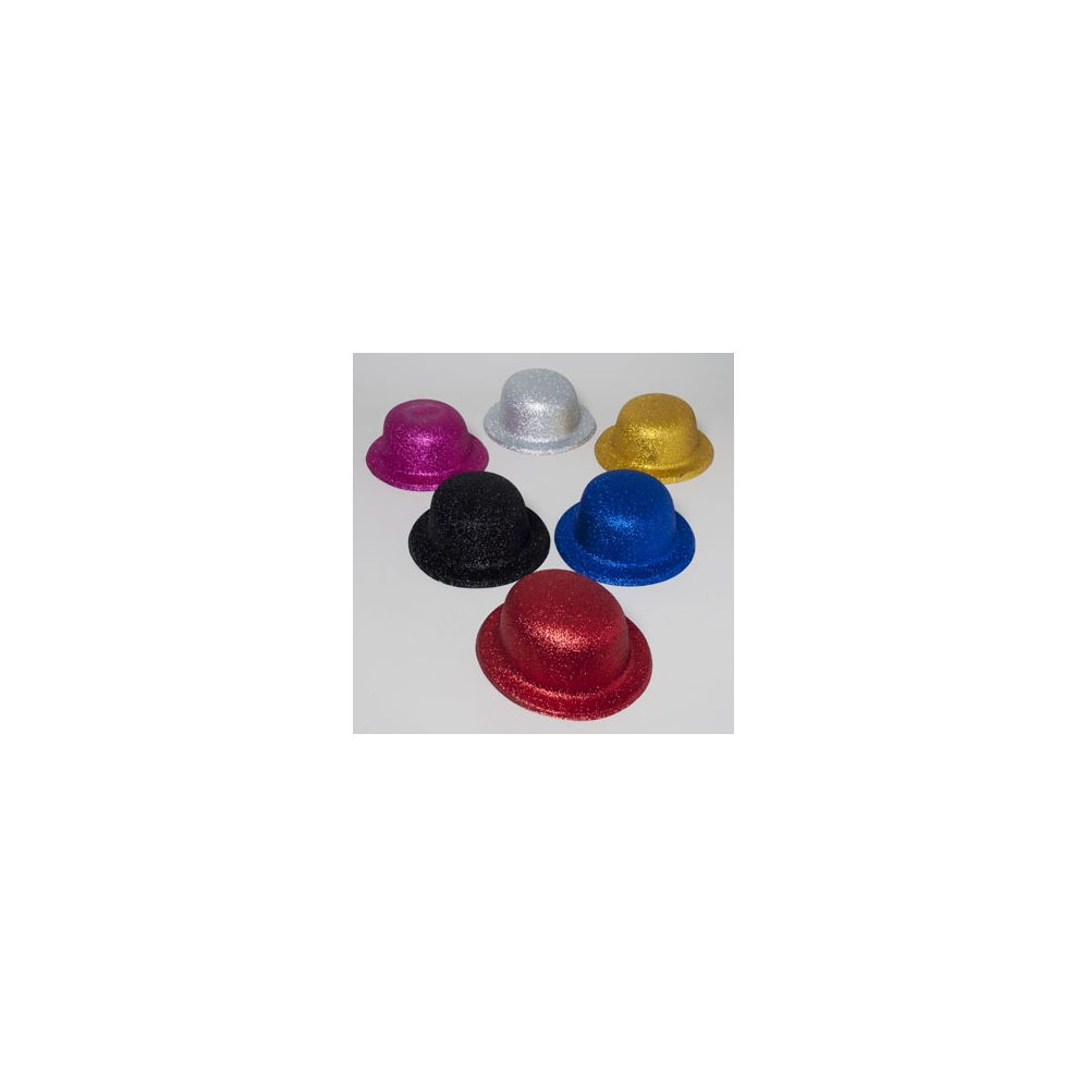 108 Units of Derby Hat W/glitter 6ast Colors Silver/gold/blue/pink/black/red Plastic Upc Label