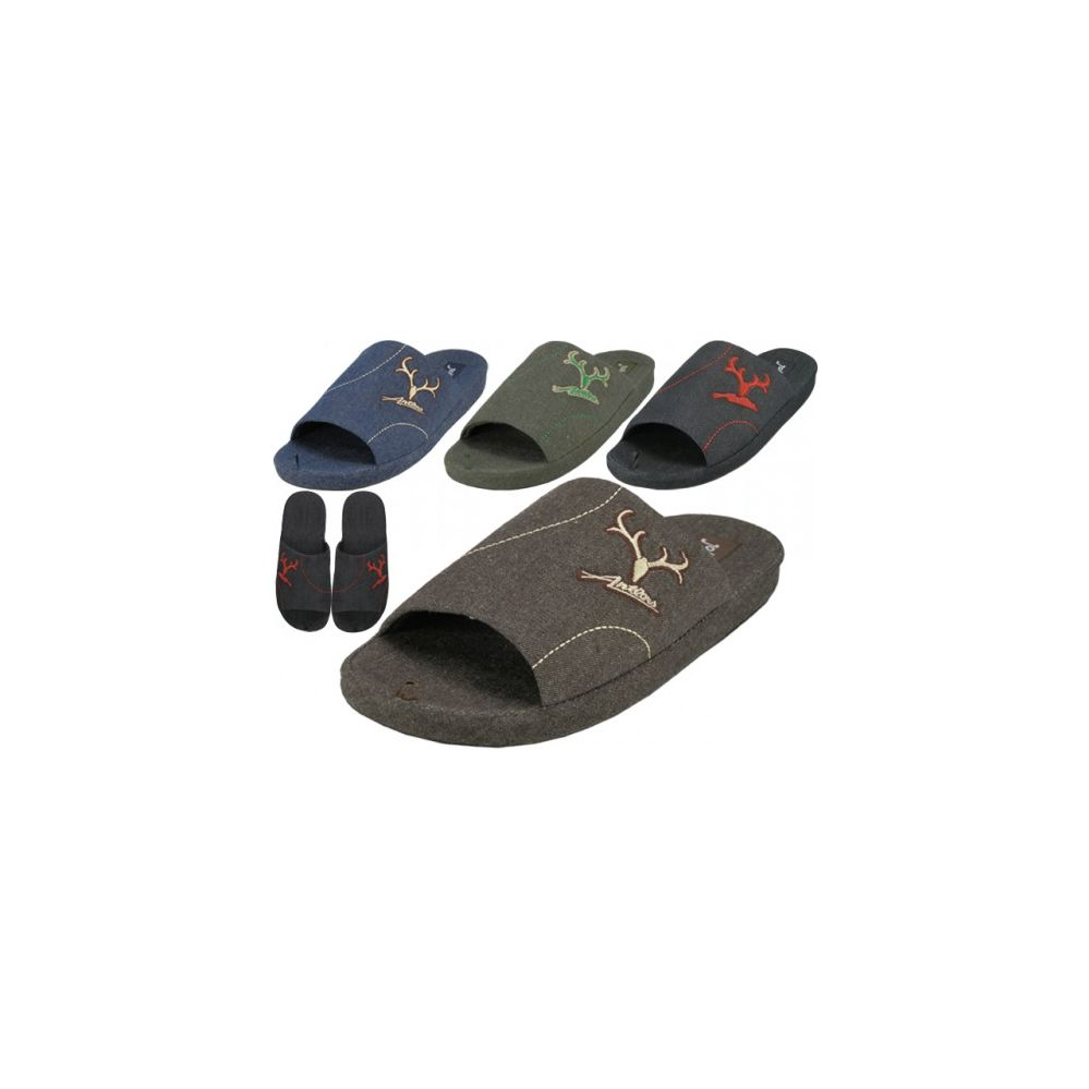 36 Units of Men's Open Toes Slippers With Antler Embroidered - Mens Slippers