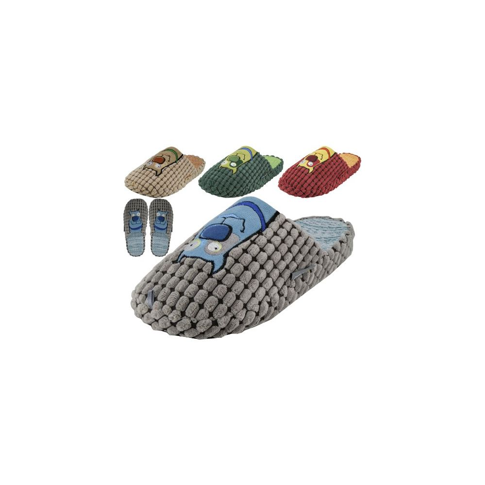 36 Units of Men's Corduroy With Dog Embroidery Slippers - Mens Slippers