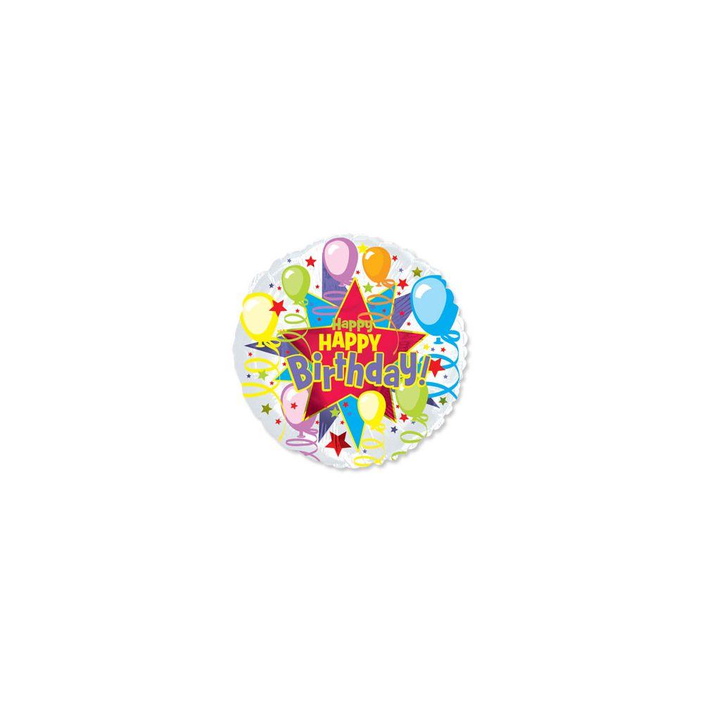 100 Units of CT 17 DS Happy B-Day Star Burst - Balloons/Balloon Holder
