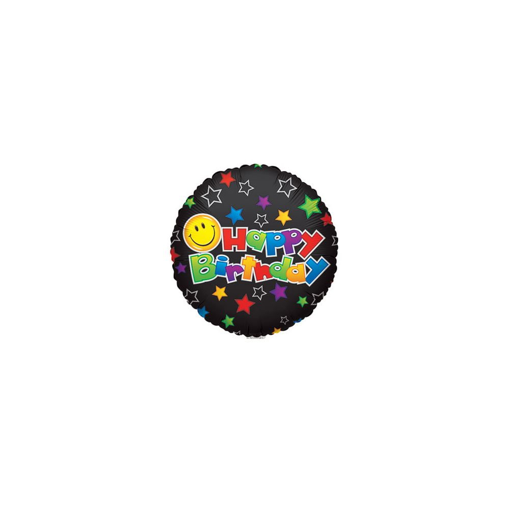 "100 Units of CV 18"" SS B-day Smiley on Black - Balloons/Balloon Holder"