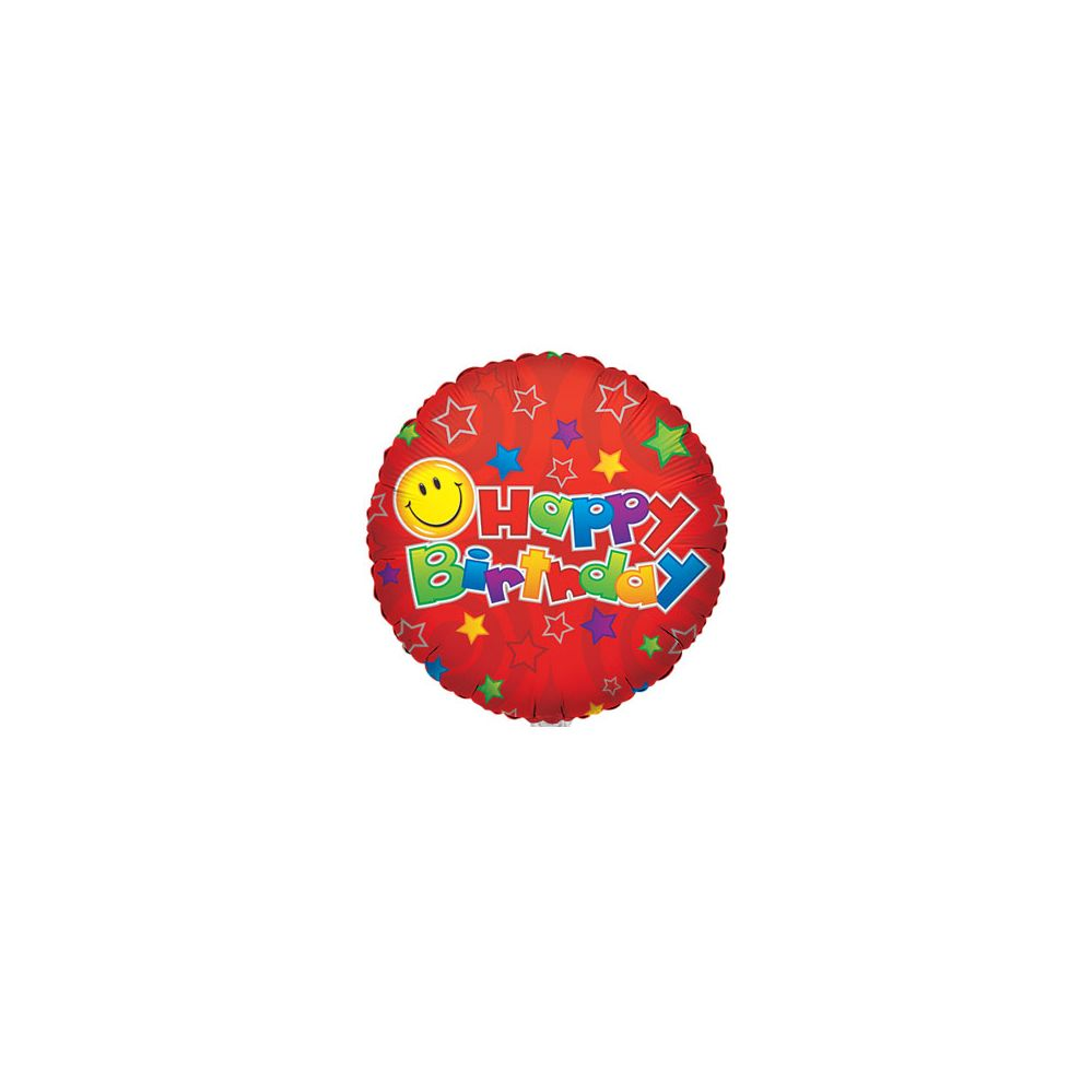 """100 Units of CV 18"""" SS B-day Smiley on Red - Balloons/Balloon Holder"""