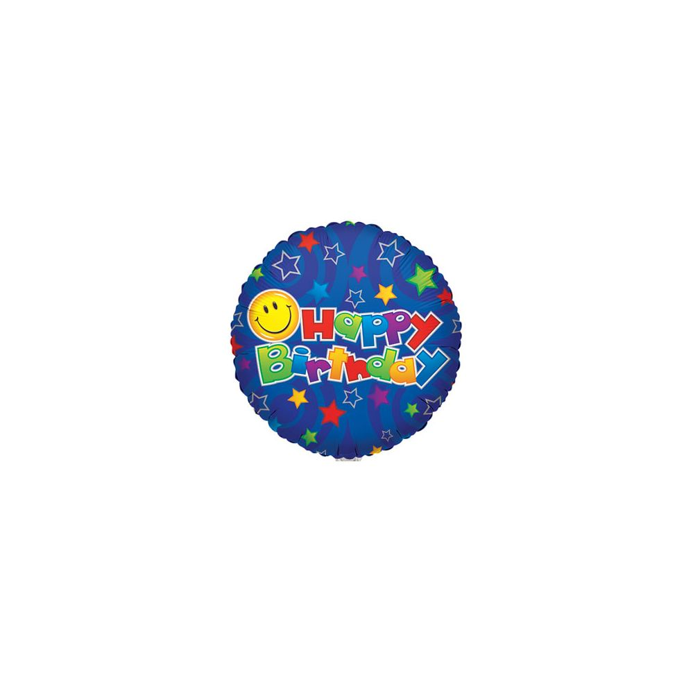 """100 Units of CV 18"""" SS B-day Smiley on Blue - Balloons/Balloon Holder"""