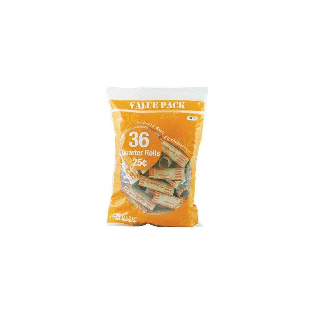 100 Units of Quarter Coin Wrappers (36/Pack)