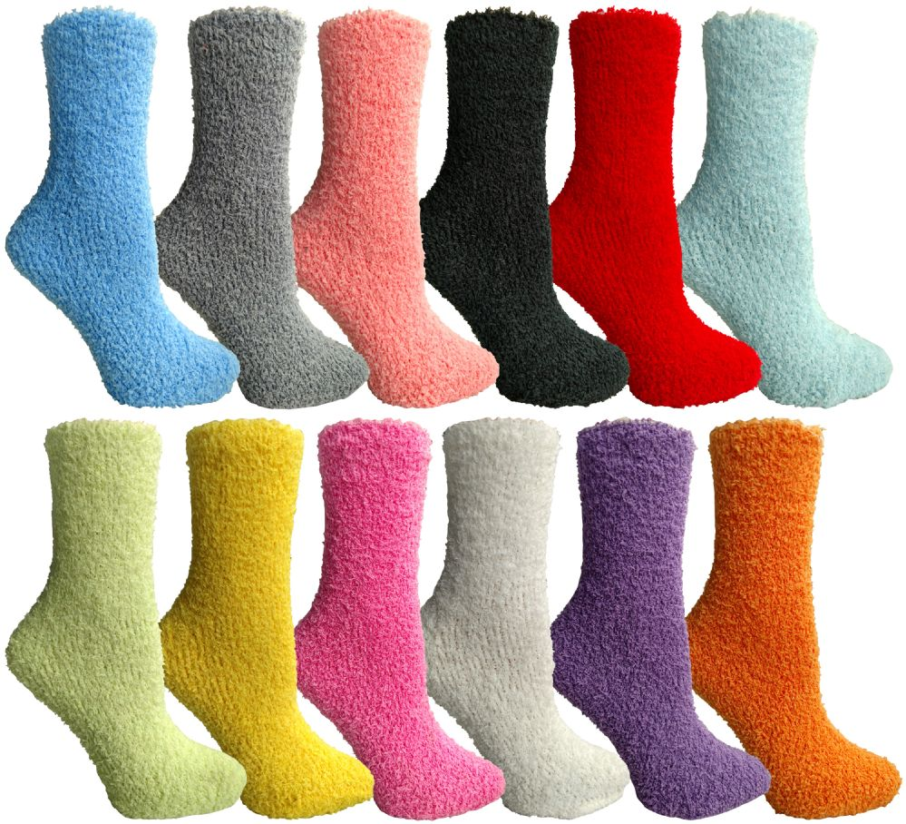12 Units of Ladies Solid Color Fuzzy Socks
