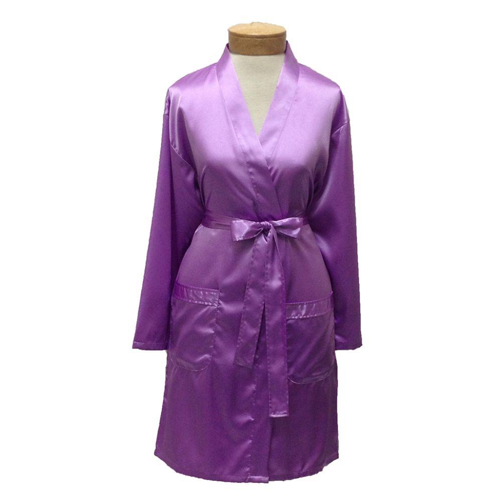 10 Units of Womens Satin Kimono Robe - Lilac - Womens Intimates