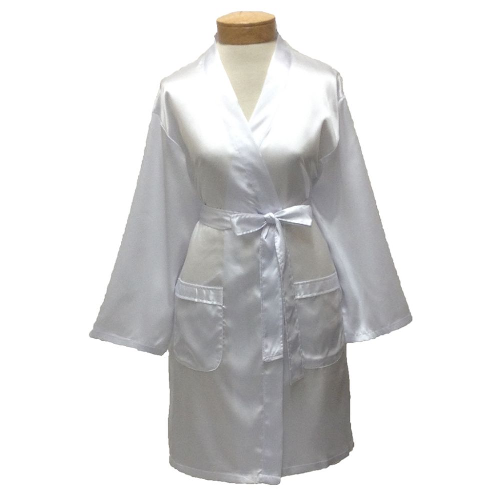10 Units of Womens Satin Kimono Robe - White - Womens Intimates