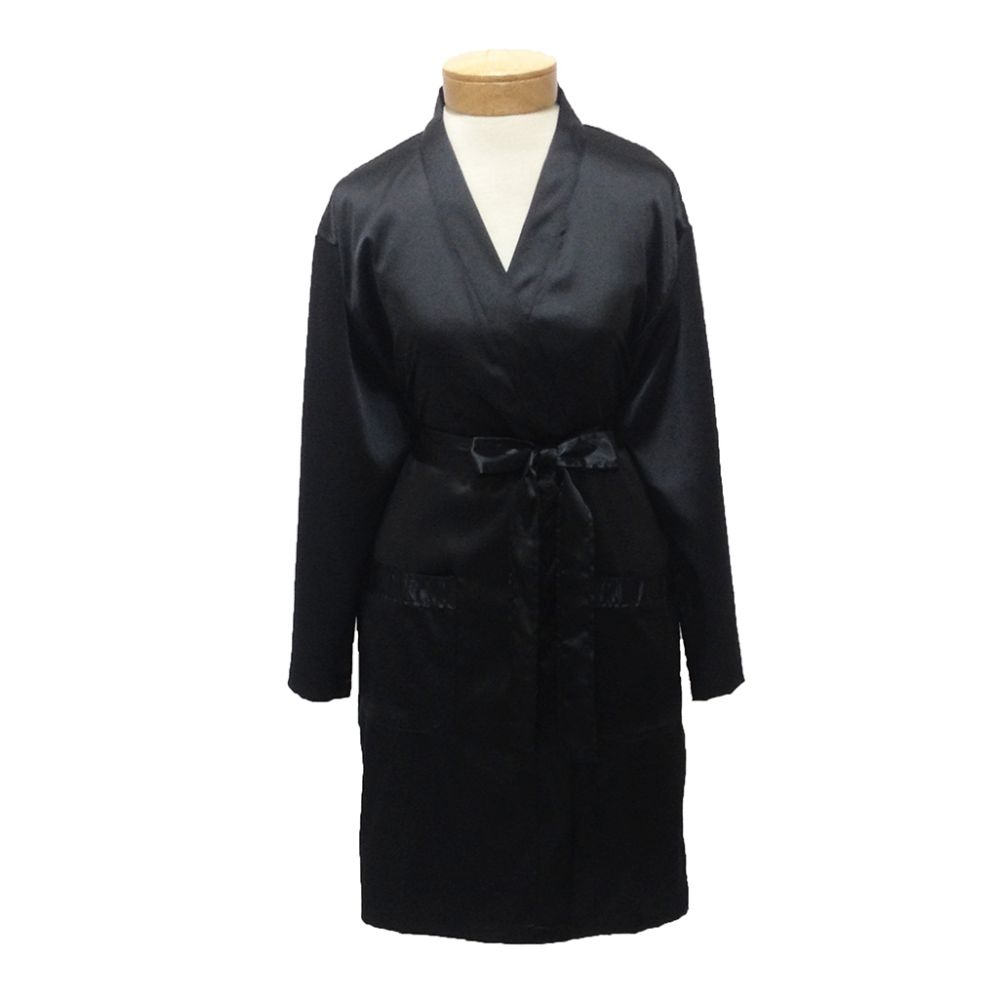 10 Units of Womens Satin Kimono Robe - Black - Womens Intimates