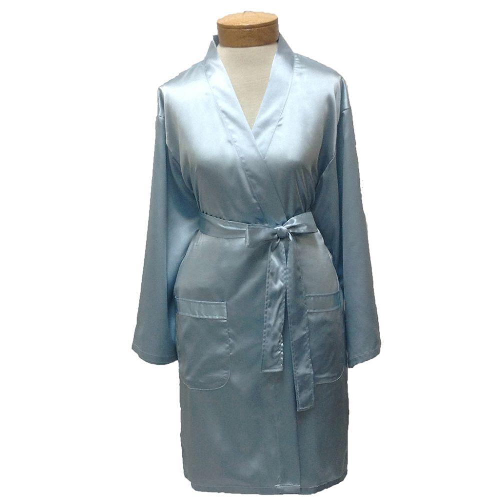 10 Units of Womens Satin Kimono Robe - Sky Blue