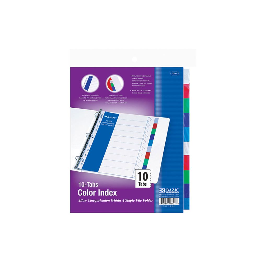 48 Units Of BAZIC 3-Ring Binder Dividers W/ 10-Color Tabs