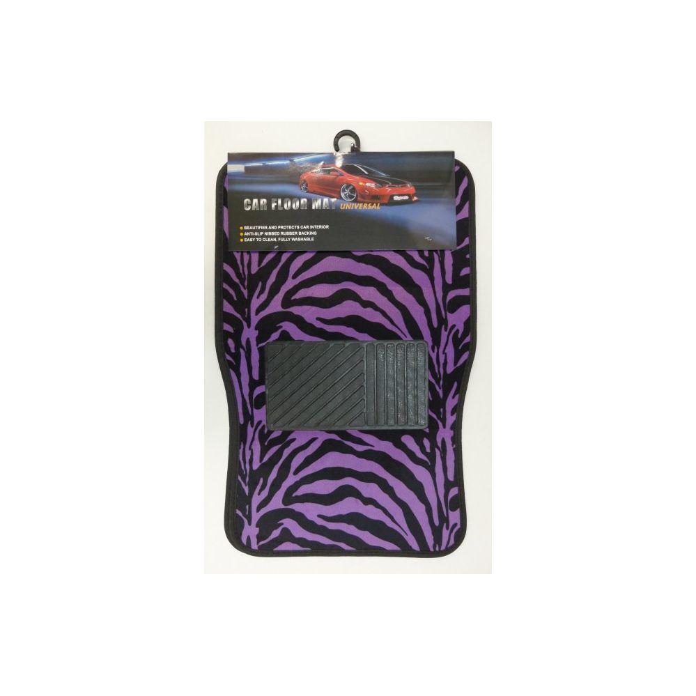 12 Units of 4pc Car Mats-Black & Purple Zebra Print - AUTO SUNSHADES/MATS