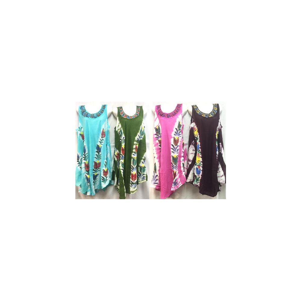 12 units of free size tie dye long dress with hand painted for Order tie dye roses online