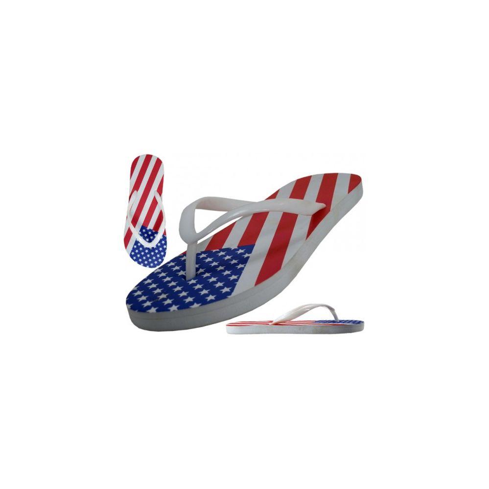 48 Units of Women's US Flag Print Flip Flops