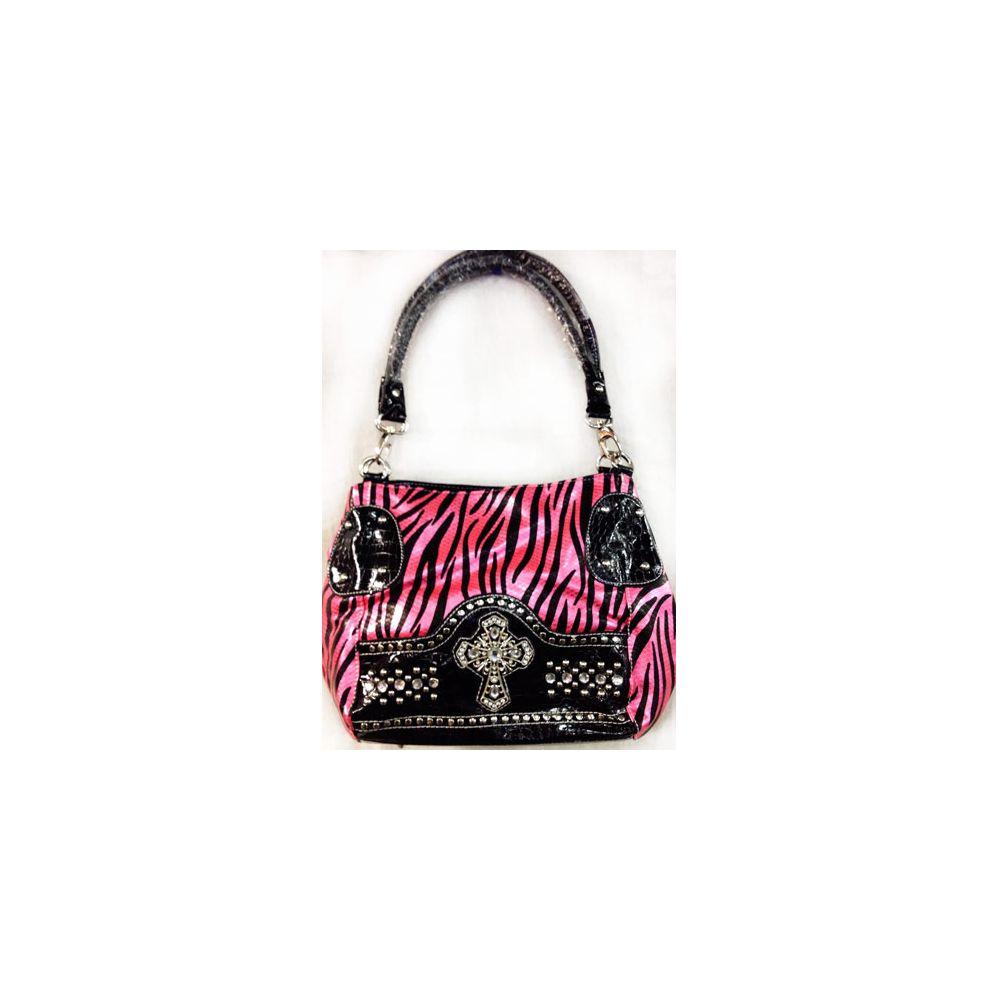 4 units of western rhinestone cross zebra print pink purse