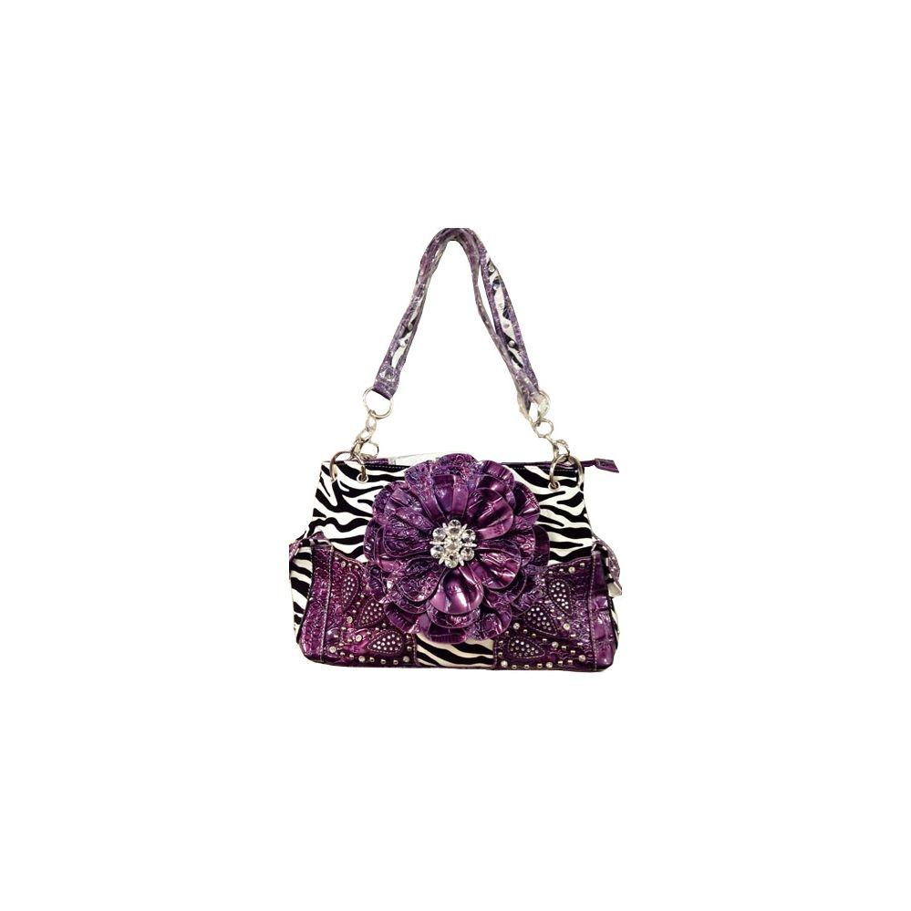 4 Units of Western Rhinestone Flower Zebra Print Purple Purse - Leather  Purses and Handbags - at - alltimetrading.com