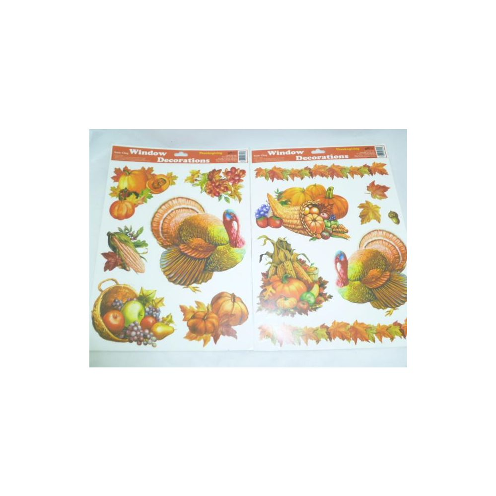 144 Units of Thanksgiving Window Clings - Turkey Harvest