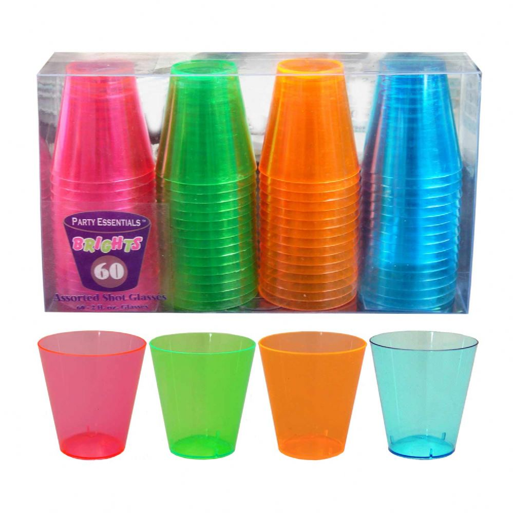 10 Units of Assorted Neon 2oz Shot Glasses - 60ct - LED Party Items