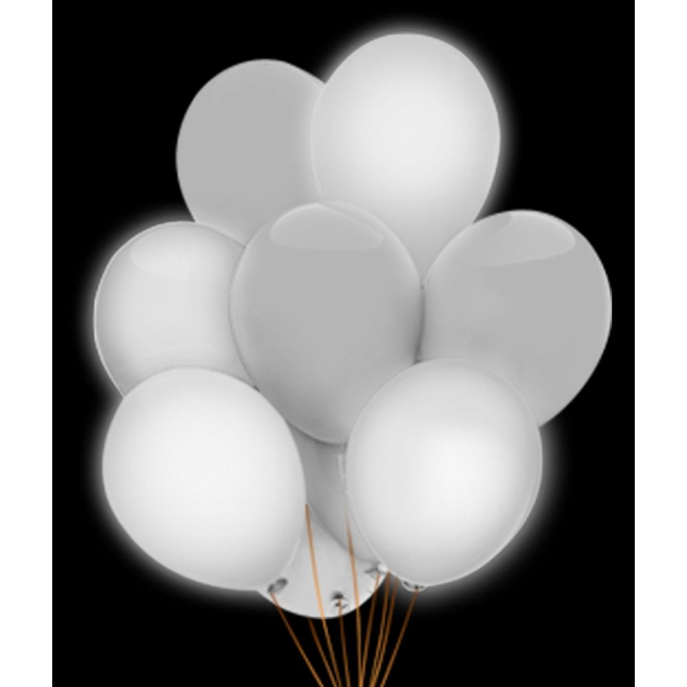 100 Units of LED 14 Inch Balloons - White 5 Pack - LED Party Items