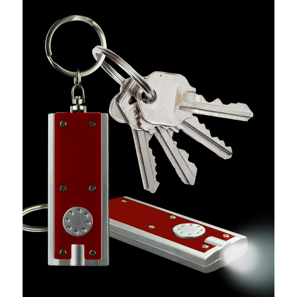 1000 Units of LED Flat Flashlight Key Chain- Red - LED Party Items