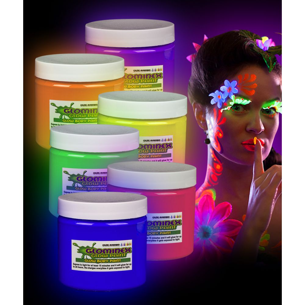 Glominex Glow Body Paint 16oz Jars - Assorted - LED Party Items
