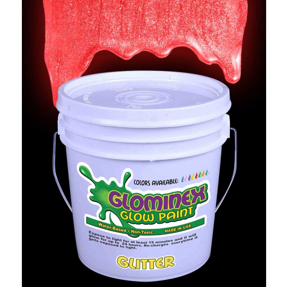 Glominex Glitter Glow Paint Gallon - Red
