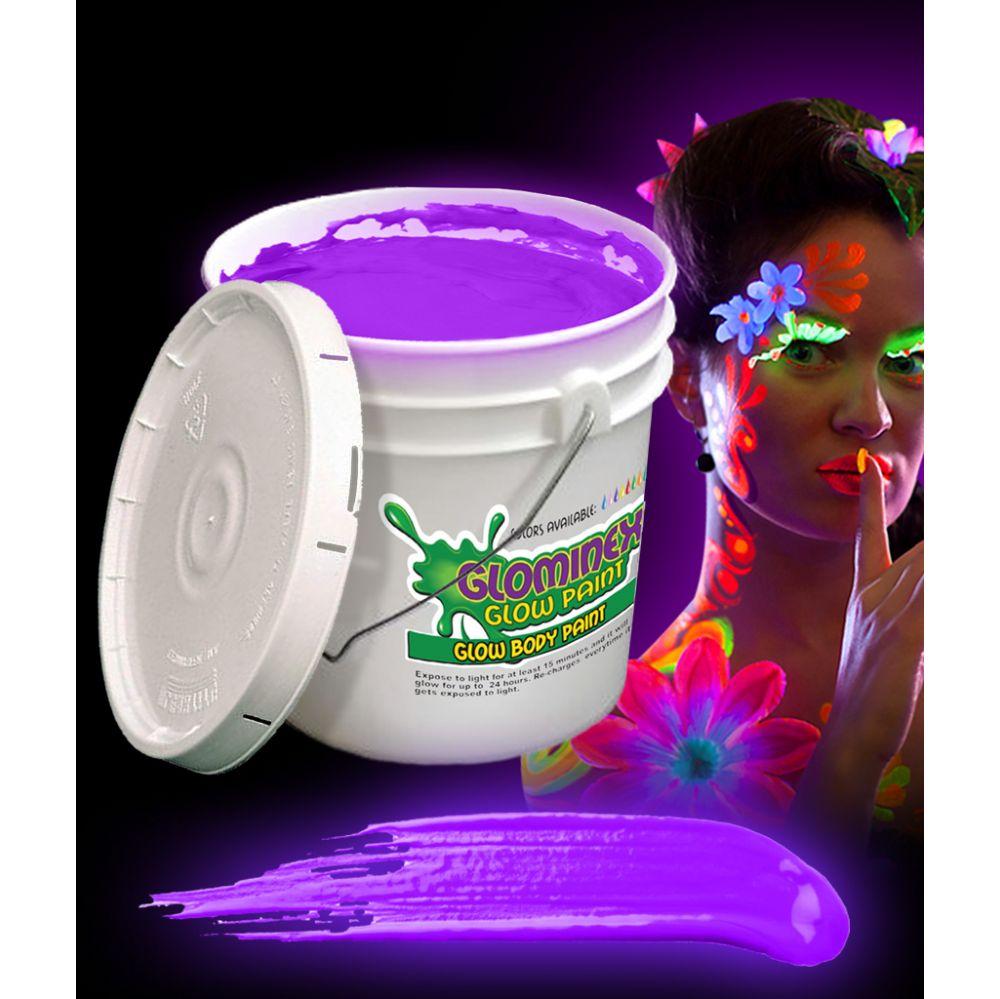 Glominex Glow Body Paint 128oz Bucket - Purple