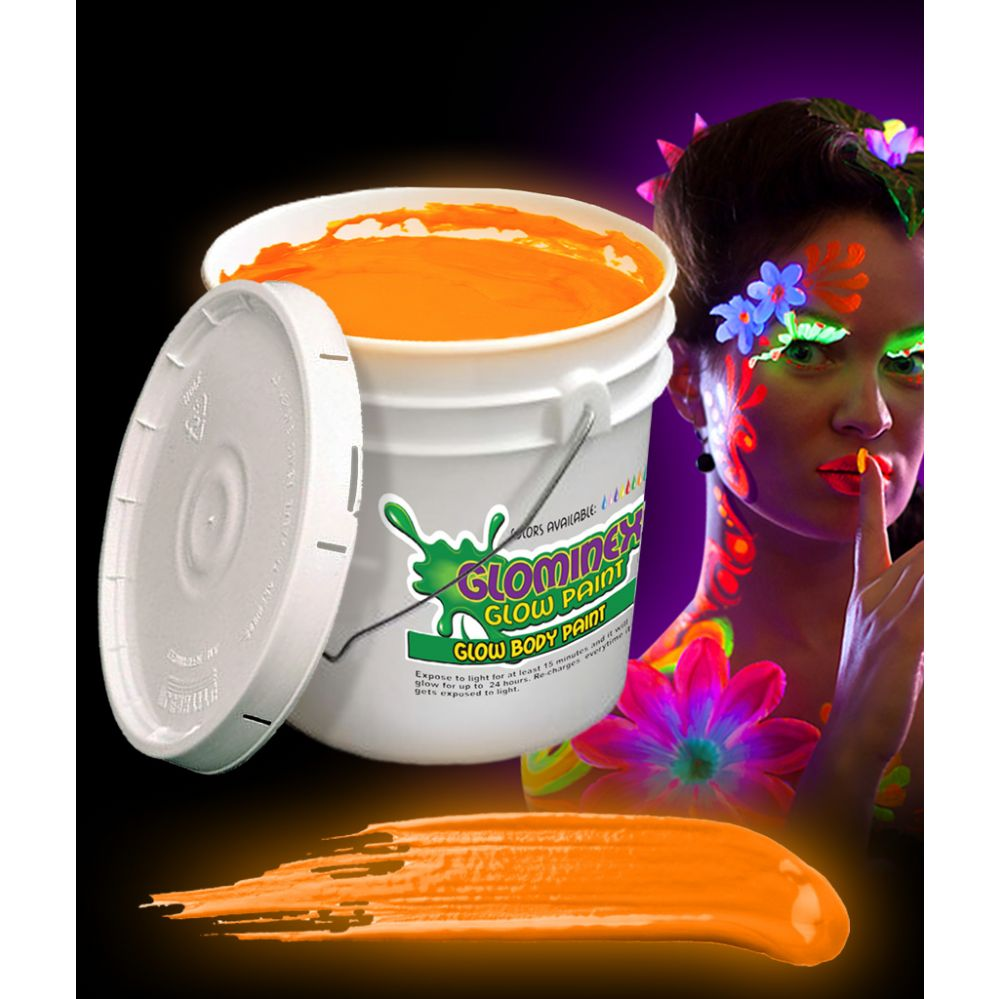 Glominex Glow Body Paint 128oz Bucket - Orange - LED Party Items