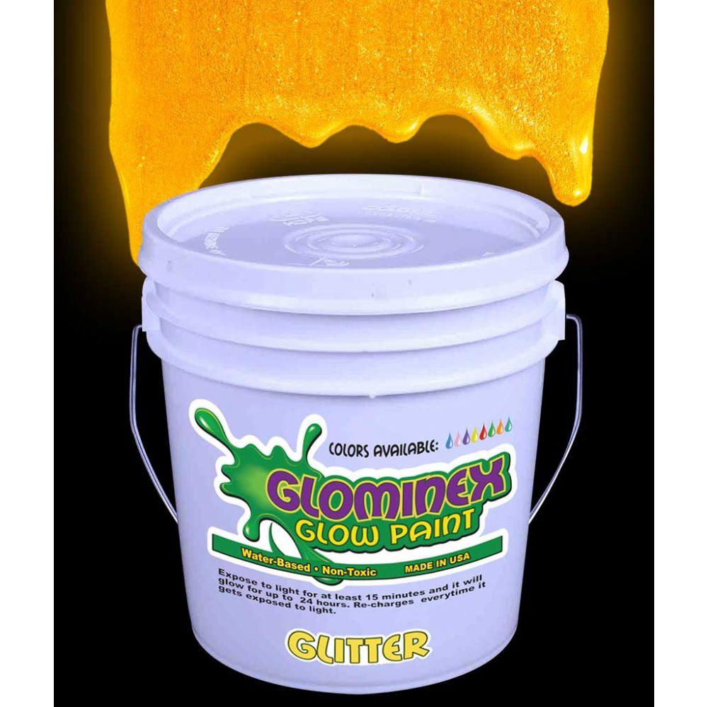 Glominex Glitter Glow Paint Gallon - Orange - LED Party Items