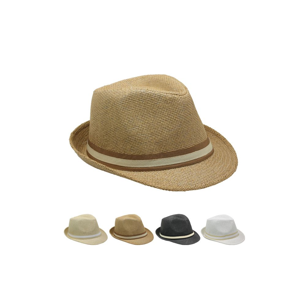 40adb1c1ff8f8 24 Units of Fashion Straw Fedora Hat With Band (Assorted Colors) - Fedoras