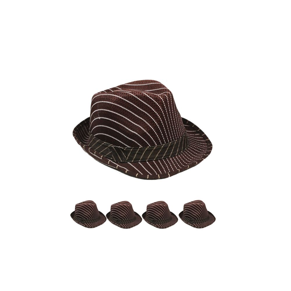 24 Units of Striped Chocolate Brown Fedora Hat - Fedoras a60b0fd86e0