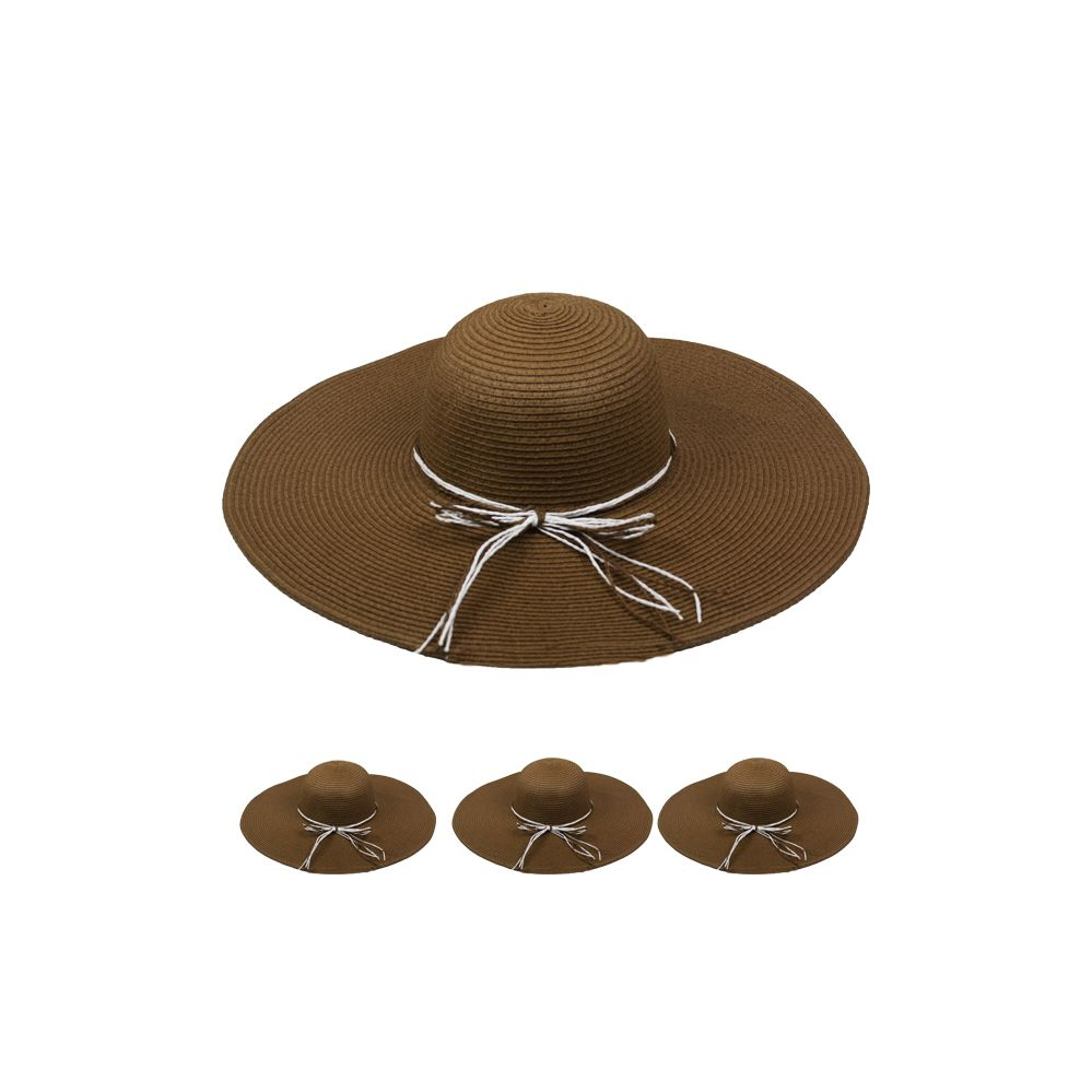 24 Units of WOMEN'S STRAW SUMMER HAT IN BROWN - Sun Hats