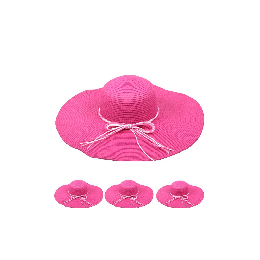 2d6efbe70 24 Units of WOMEN'S STRAW SUMMER HAT IN PINK - Sun Hats