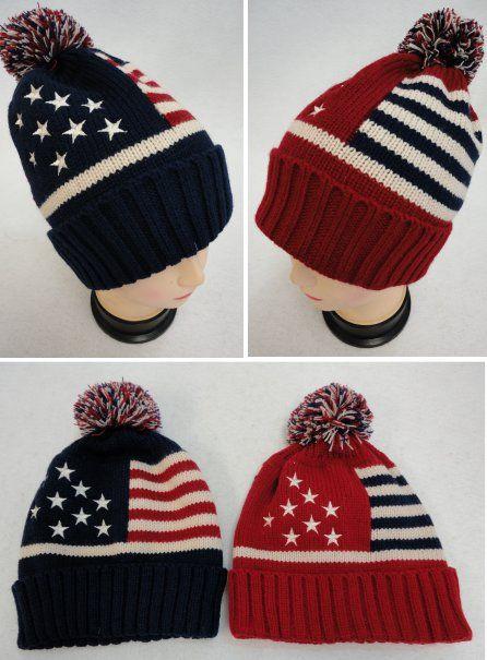 36 Units of Toboggan Hat with Pompom [American Flag] - Toboggan Hats