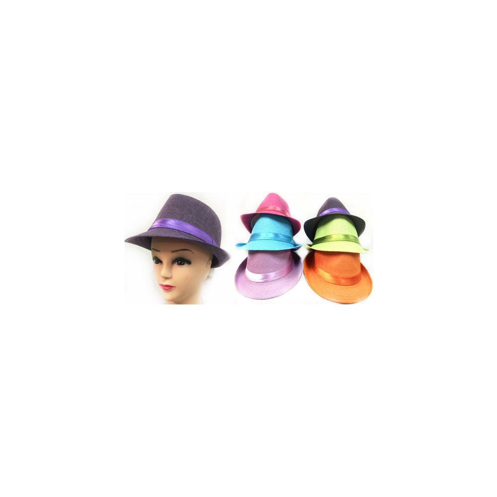 53e437656ba82 24 Units of Neon Color Fedora Hats Assorted - Fedoras