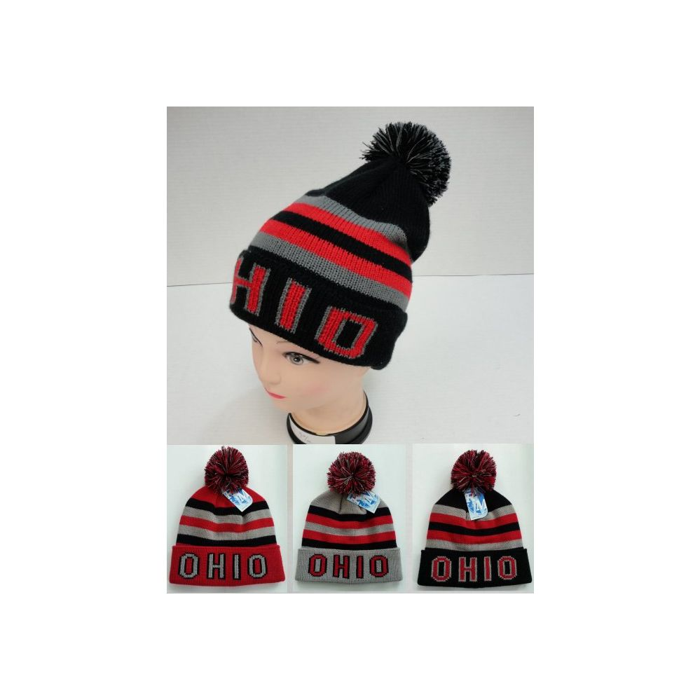 08bb8e2f 12 Units of Knitted Toboggan Hat [OHIO] - Winter Beanie Hats - at -  alltimetrading.com