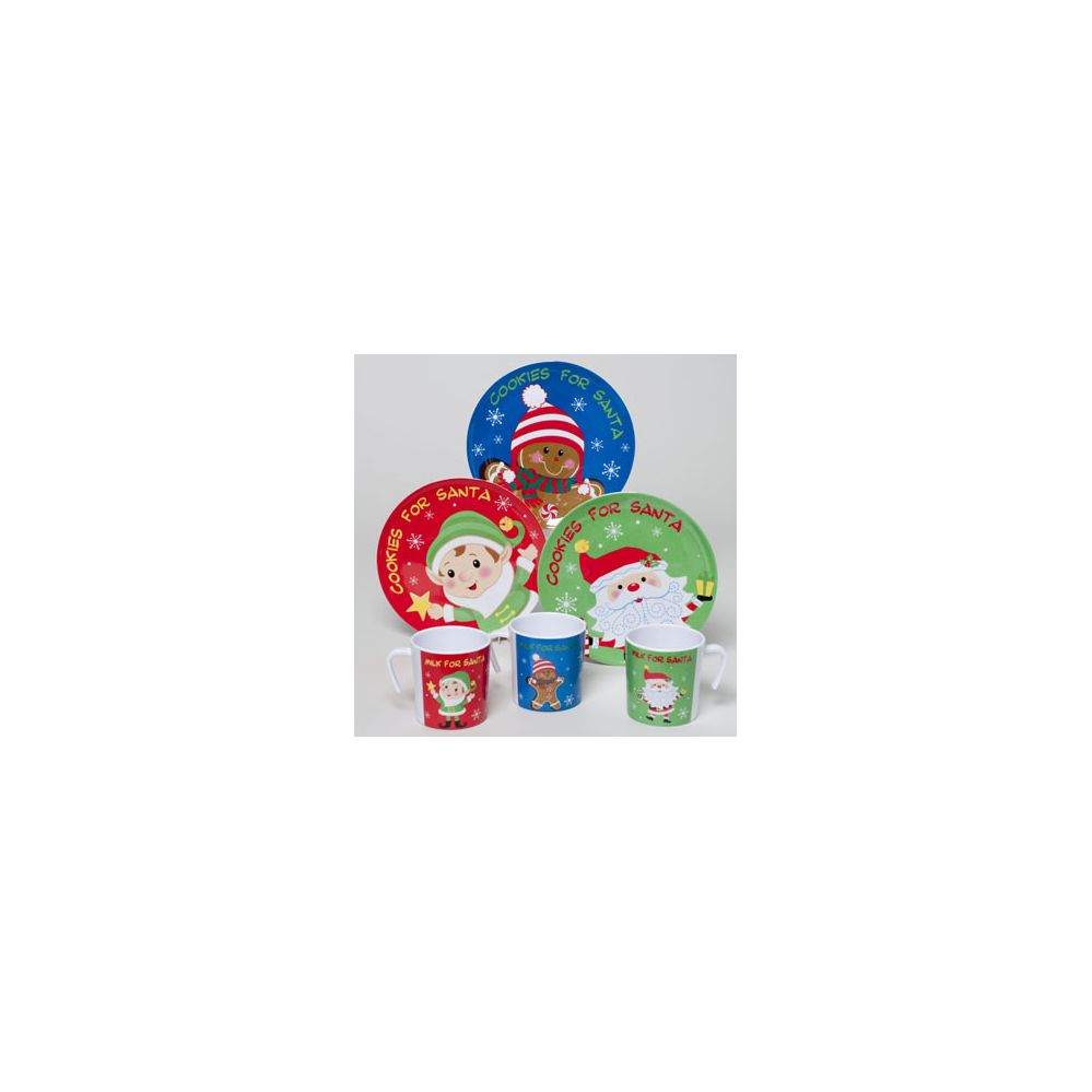 108 Units of Cookies For Santa Melamine 3ast 8in Plate/10oz Mug 36pc Pdq Upc Christmas Label