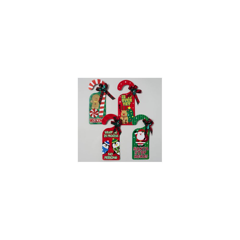 72 Units Of Door Knob Hanger 4asst Holiday Greetings With Glitter