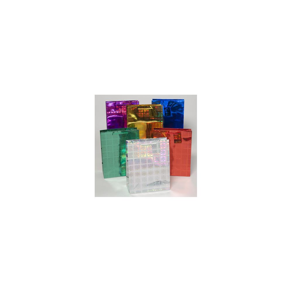 144 Units of Gift Bag Large Christmas Laser Snowflake 10.25x12.75x5 6ast Colors Upc Label/pls Hangtab
