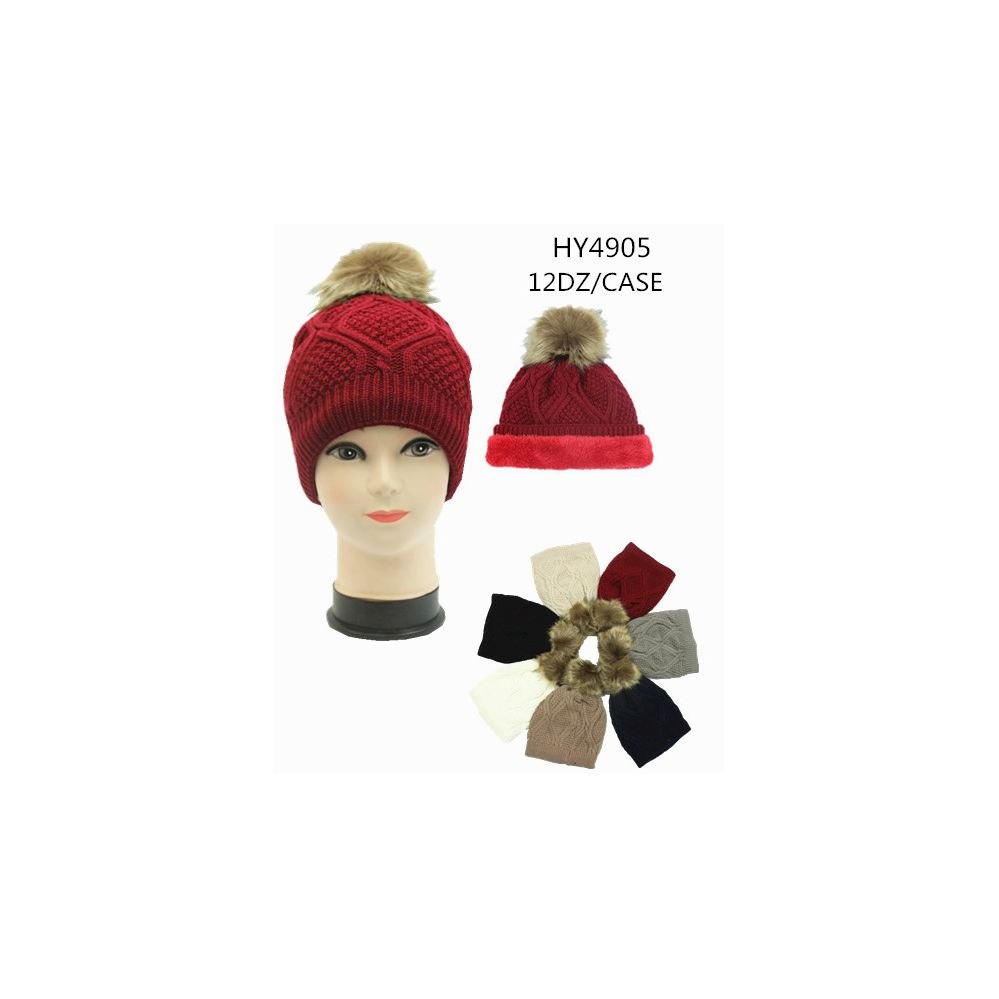 369c06ca7f1 36 Units of Ladies Winter Hat With Faux Fur Lining Assorted Color - Fashion Winter  Hats - at - alltimetrading.com