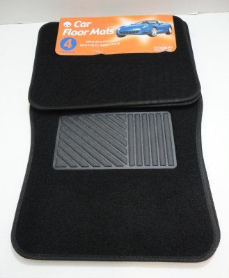6 Units of 4 Piece Black Car Mat - Auto Sunshades and Mats