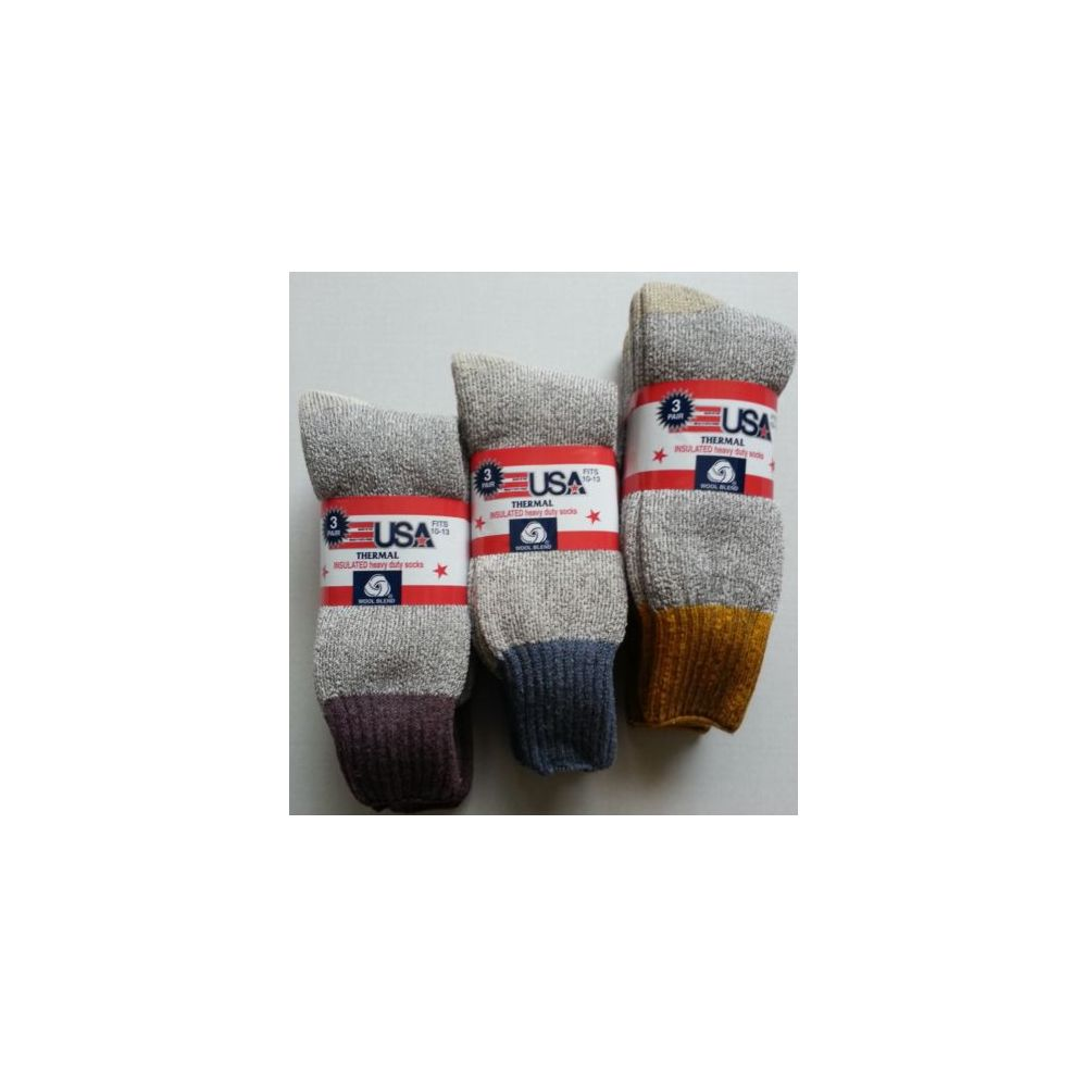 24 Units of WOOL BLEND INSULATED HEAVY DUTY THERMAL SOCKS 3 Pack MADE IN U.S.A Size 10-13