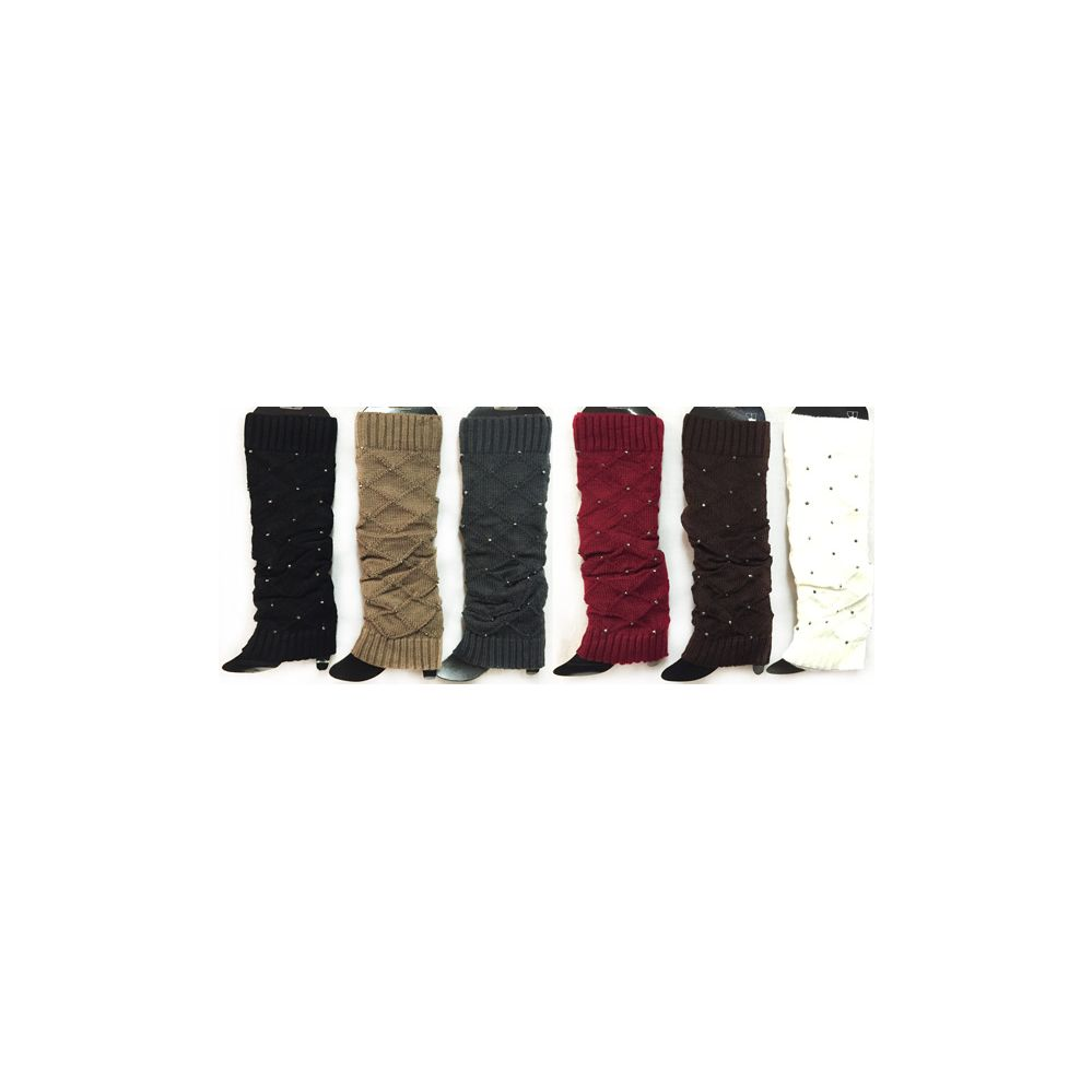 24 Units of Knitted Boot Toppers Leg Warmers with Rhinestones