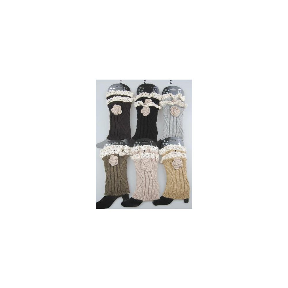 24 Units of boot topper leg warmer with flower Neutral color ast